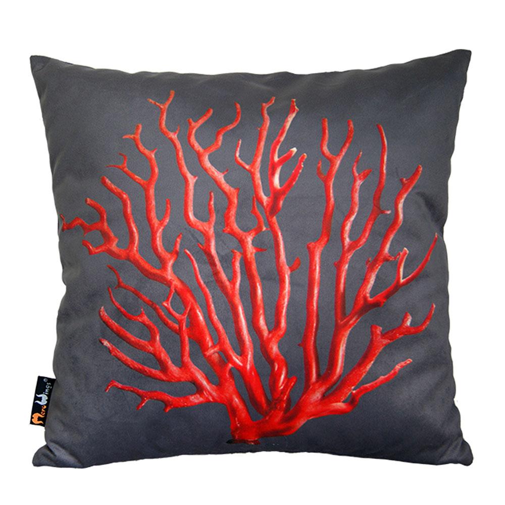 Polštář Red Coral, 45 cm, šedá