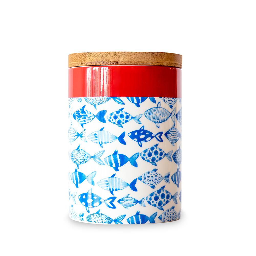 Porcelánová dóza s bambusovým víkem Fish, 11 cm