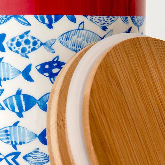 Porcelánová dóza s bambusovým víkem Fish, 16 cm