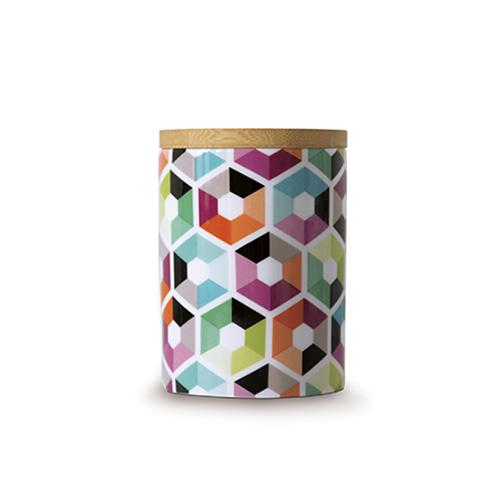 Porcelánová dóza s bambusovým víkem Hexagon, 0,275 l