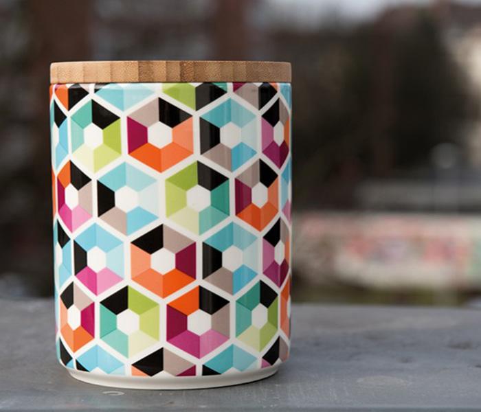 Porcelánová dóza s bambusovým víkem Hexagon, 1,25 l