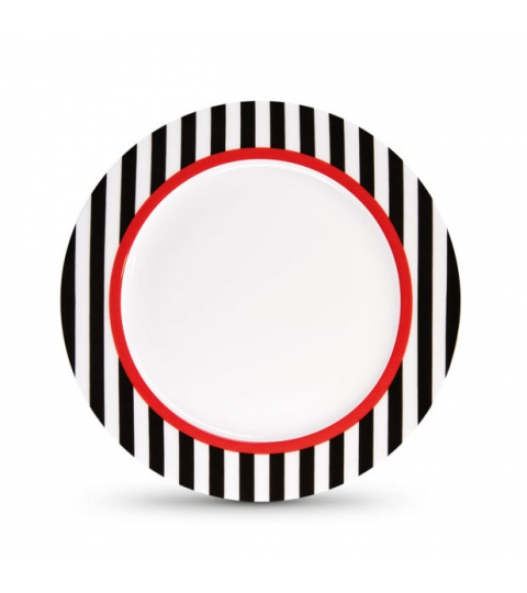 Porcelánový talíř Black Stripes, 21 cm