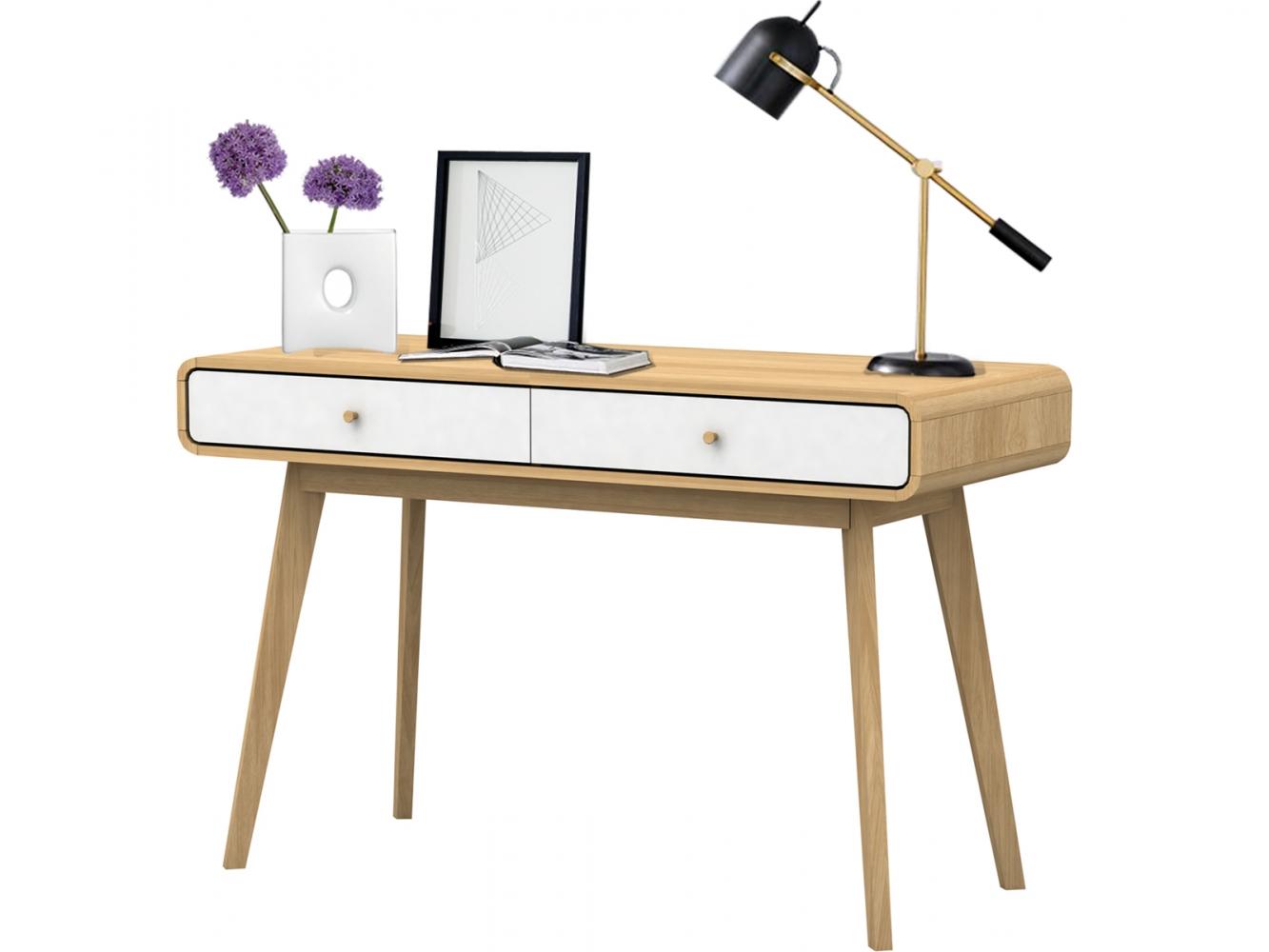 Pracovní stůl Calin, 120 cm, bílá / dub