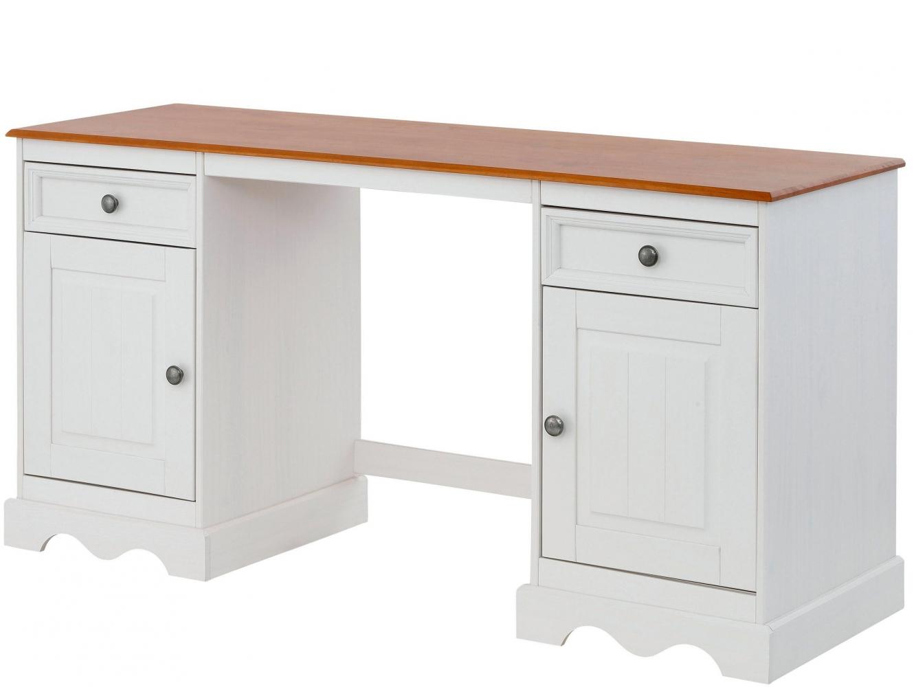 Pracovní stůl Meliss, 160 cm, bílá / borovice