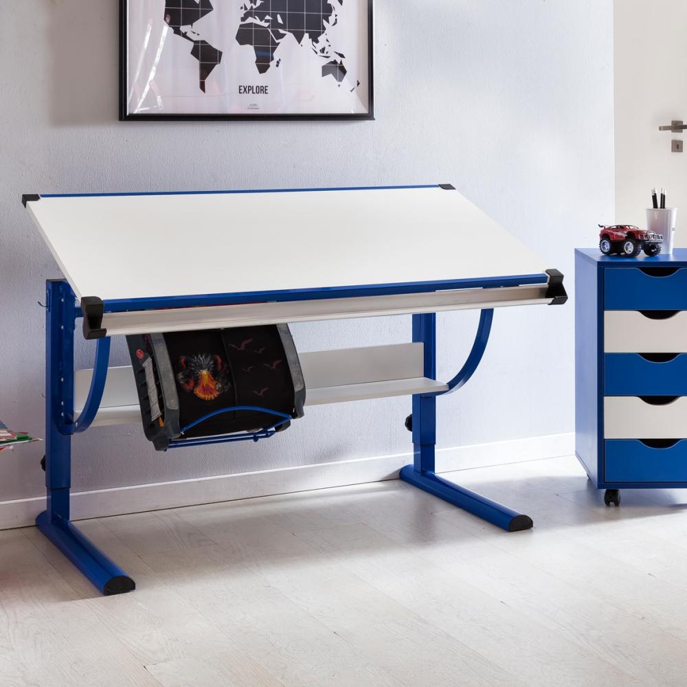 Pracovní stůl Moa, 118 cm, modrá