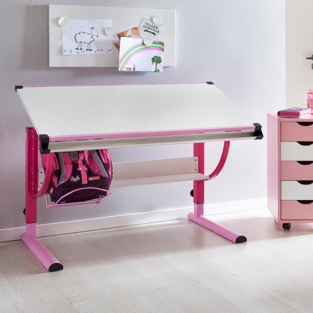 Pracovní stůl Moa, 118 cm, růžová