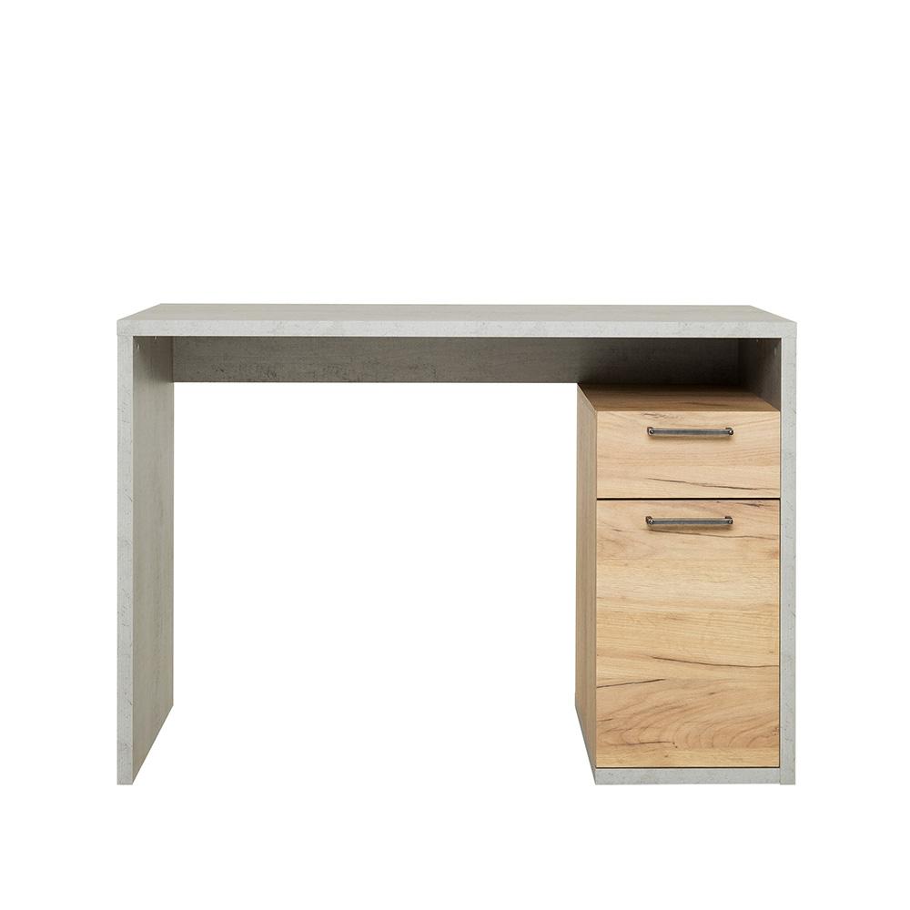 Pracovní stůl s dveřmi a zásuvkou Domo, 105 cm, beton/dub