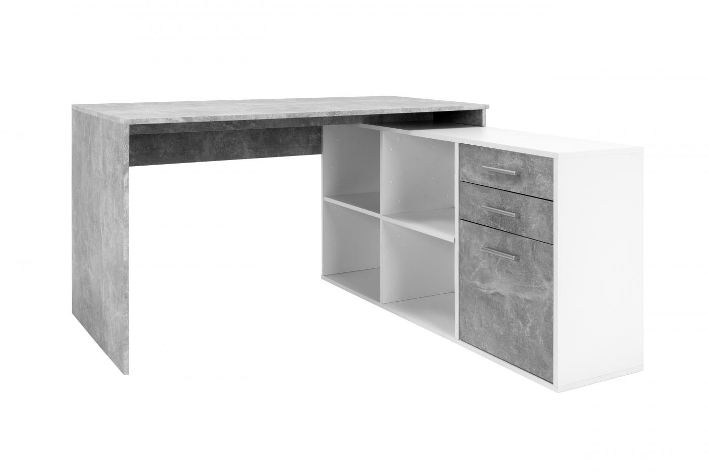 Pracovní stůl Theo, 136 cm, bílá / šedá