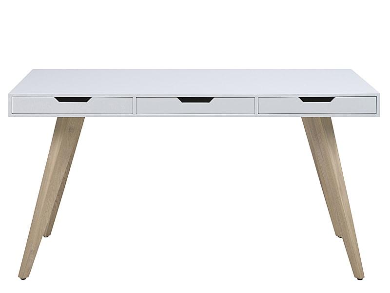 Pracovný stôl s 3 zásuvkami Edita, 140 cm , biela / jaseň