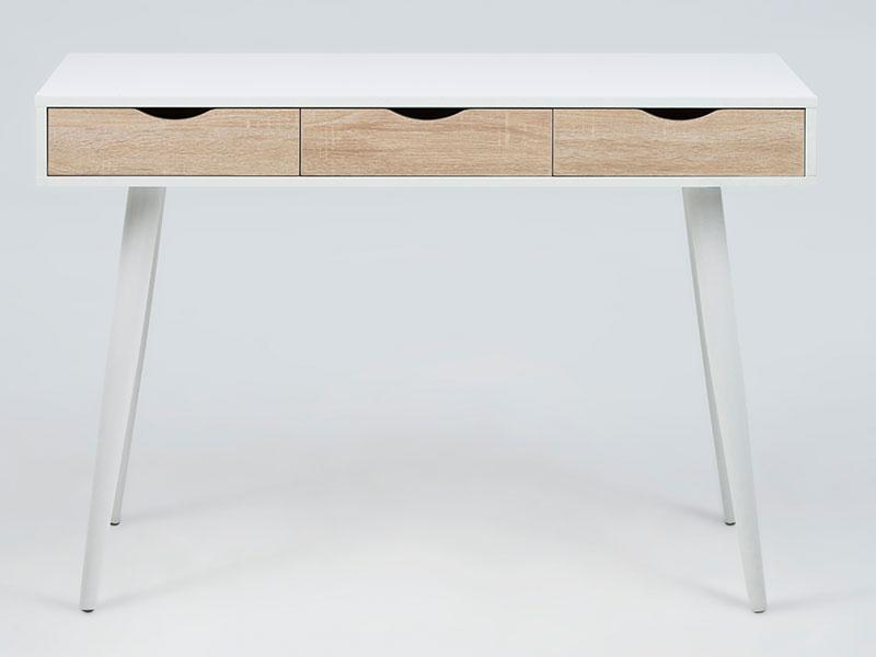 Pracovný stôl so zásuvkami Pluto, 110 cm, biela / dub