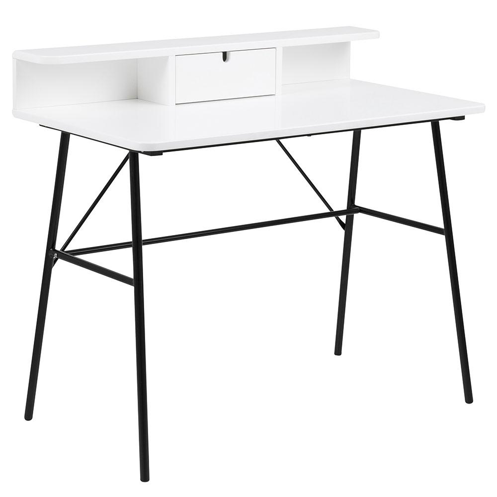 Pracovný stôl so zásuvkou Calina, 100 cm, biela / čierna