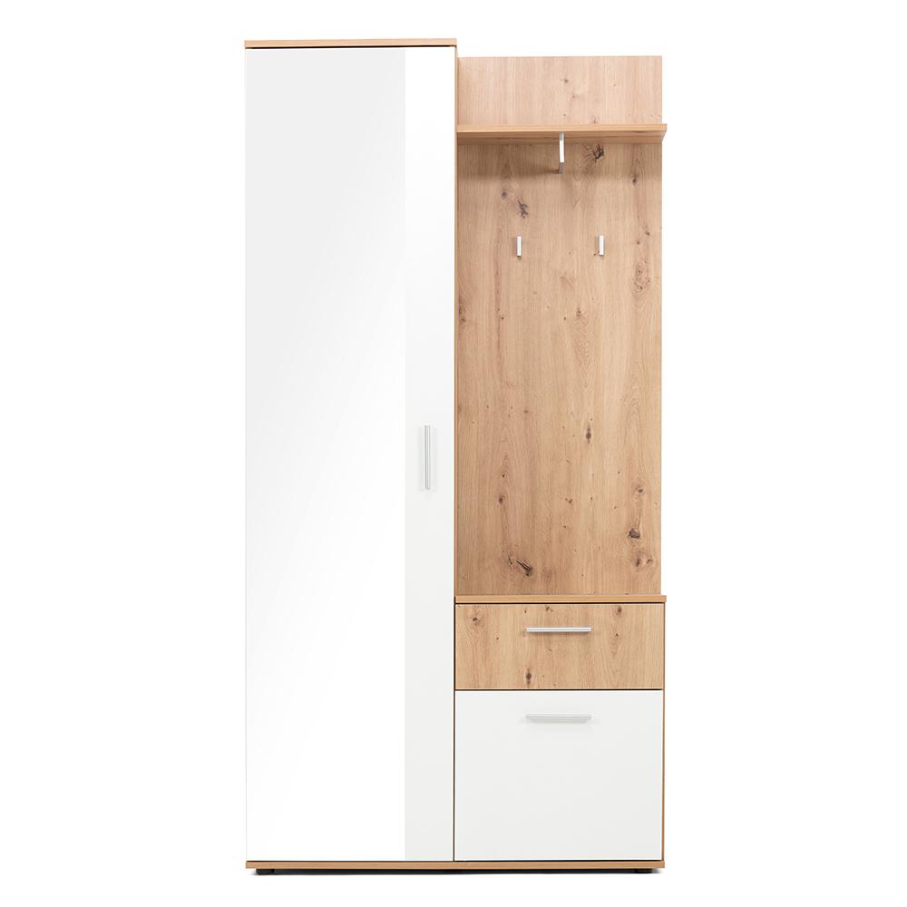 Předsíňová stěna Emelie, 196 cm, Artisan dub/bílá