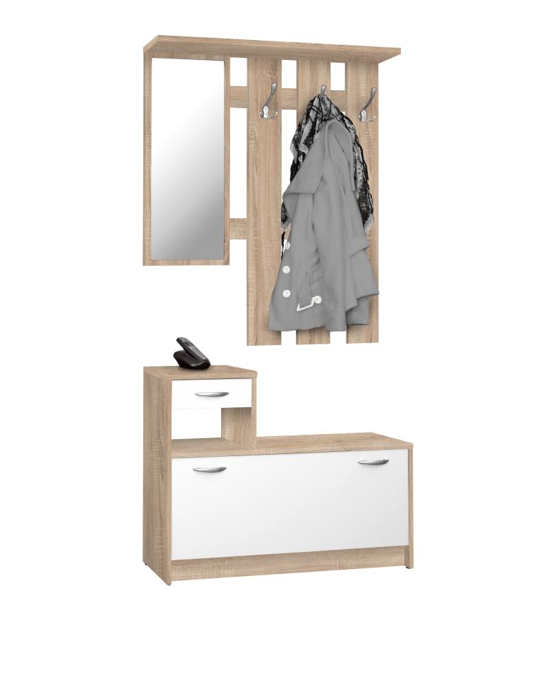 Předsíňová stěna Jill, 180 cm, bílá / dub