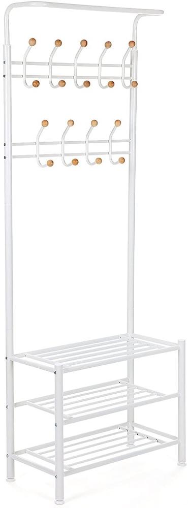 Předsíňový věšák Hakan, 187 cm, bílá