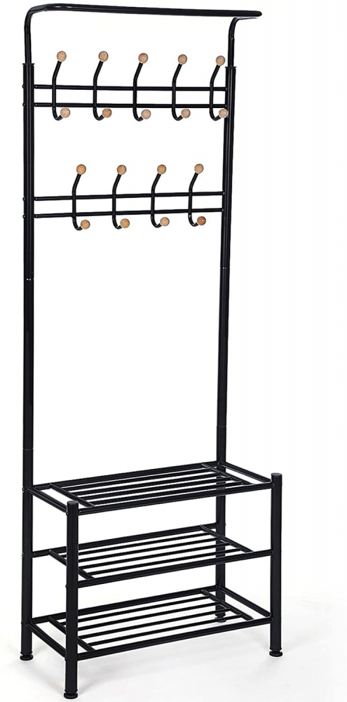 Předsíňový věšák Hakan, 187 cm, černá