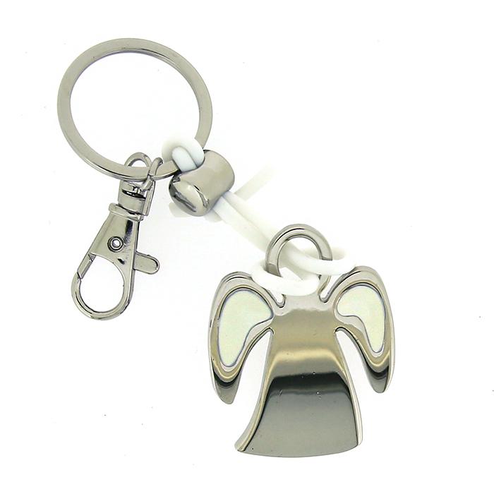 Přívěšek na klíče Engel, 9,5 cm, stříbrná / bílá