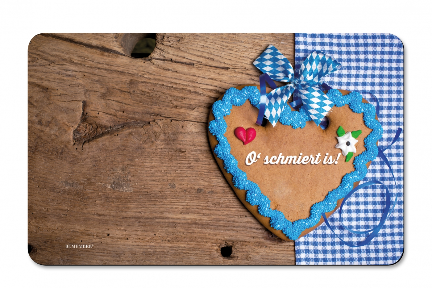 Prkénko umakartové Heart, 24x14 cm, modrá / hnědá