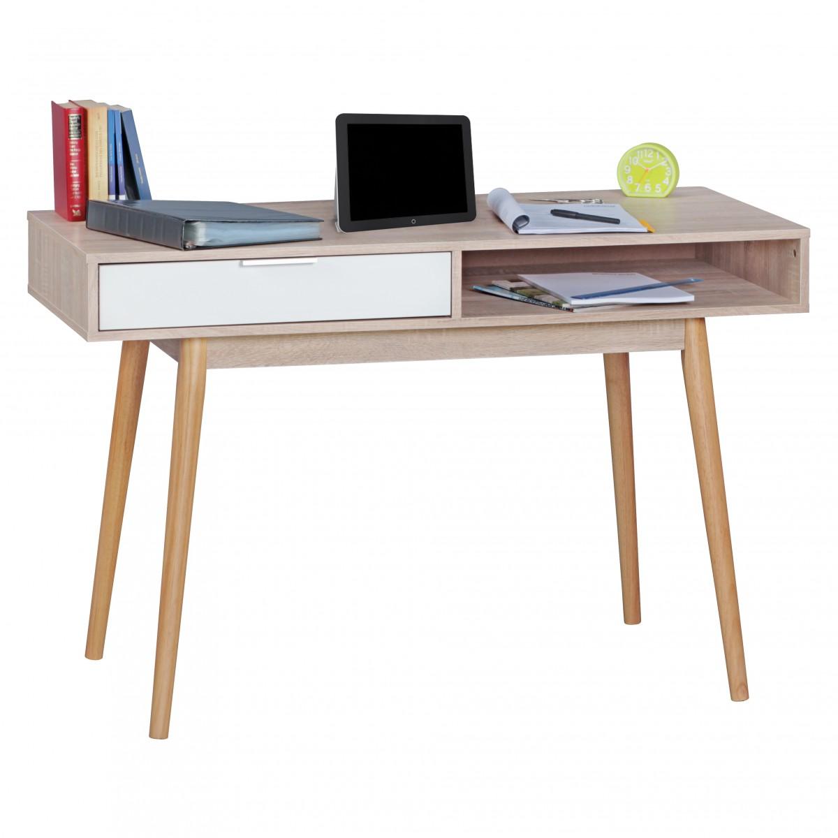 Psací retro stůl Samo, 120 cm, Sonoma dub/bílá