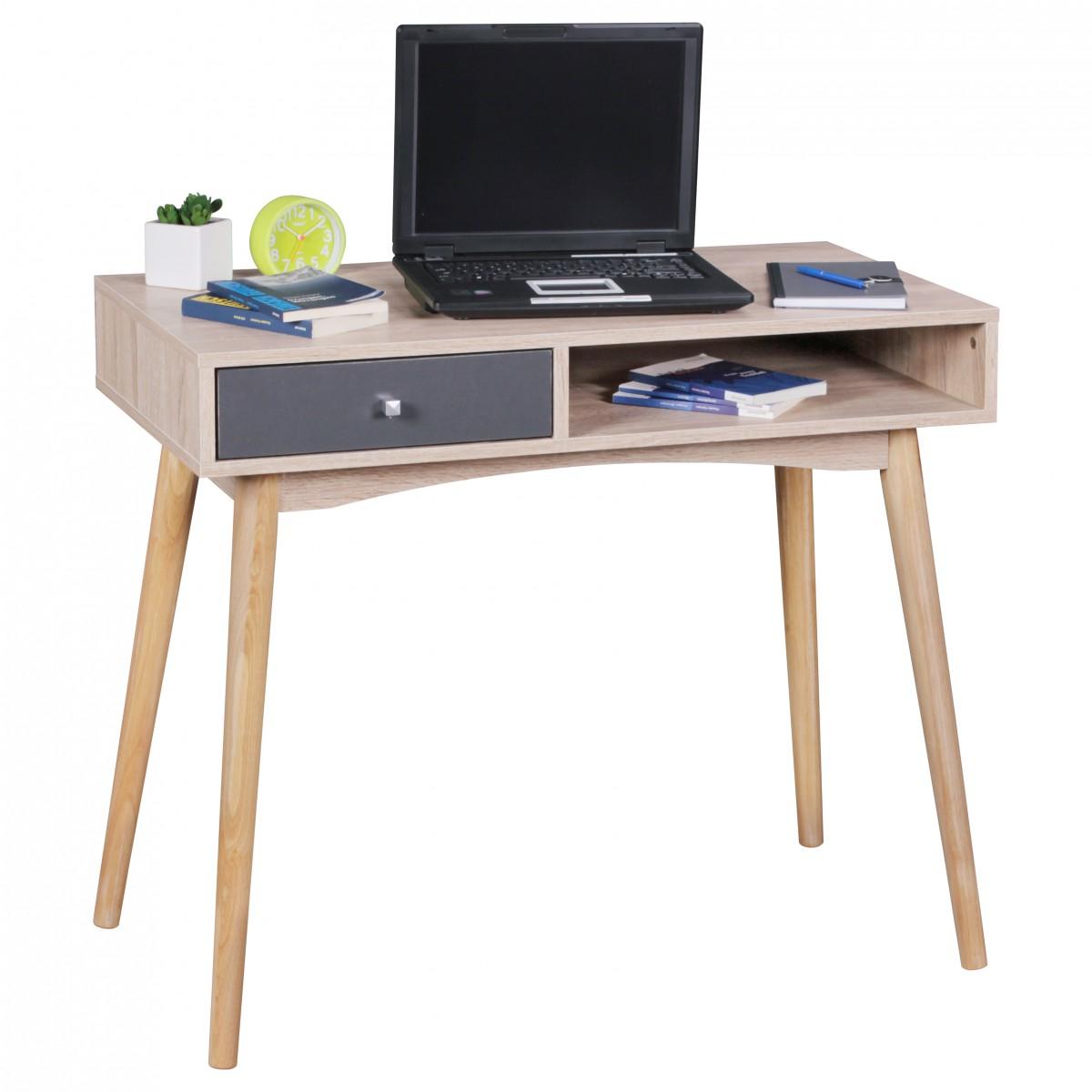 Psací retro stůl Samo, 120 cm, Sonoma dub/šedá