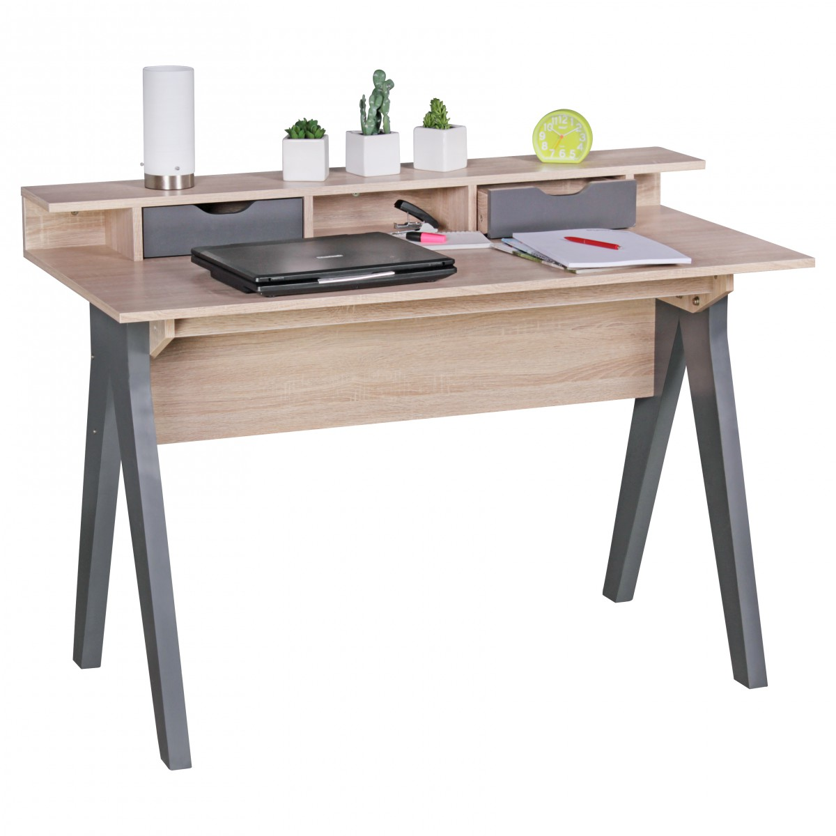 Psací stůl Samo, 120 cm, Sonoma dub/šedá