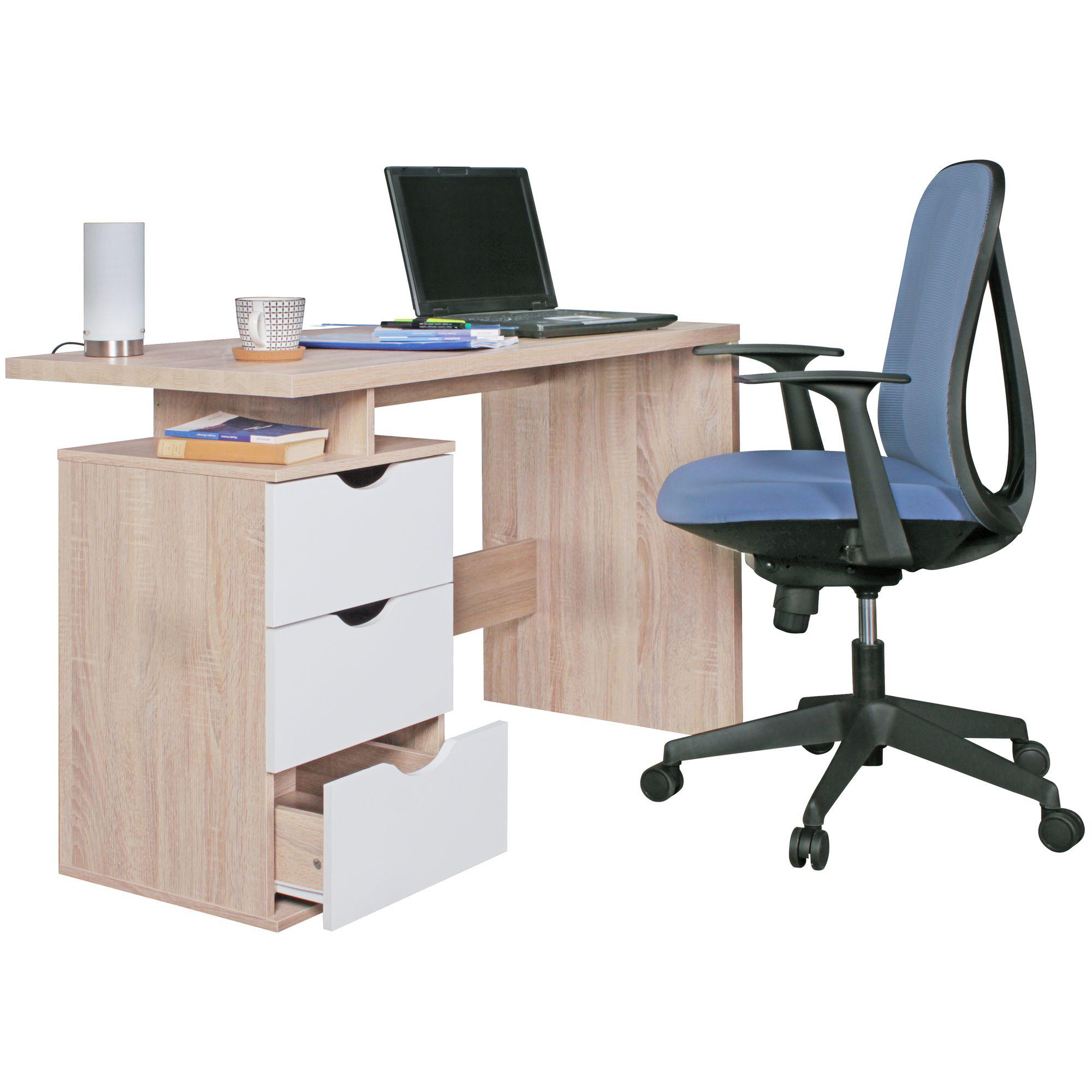 Psací stůl se zásuvkami Samo, 120 cm, Sonoma dub/bílá