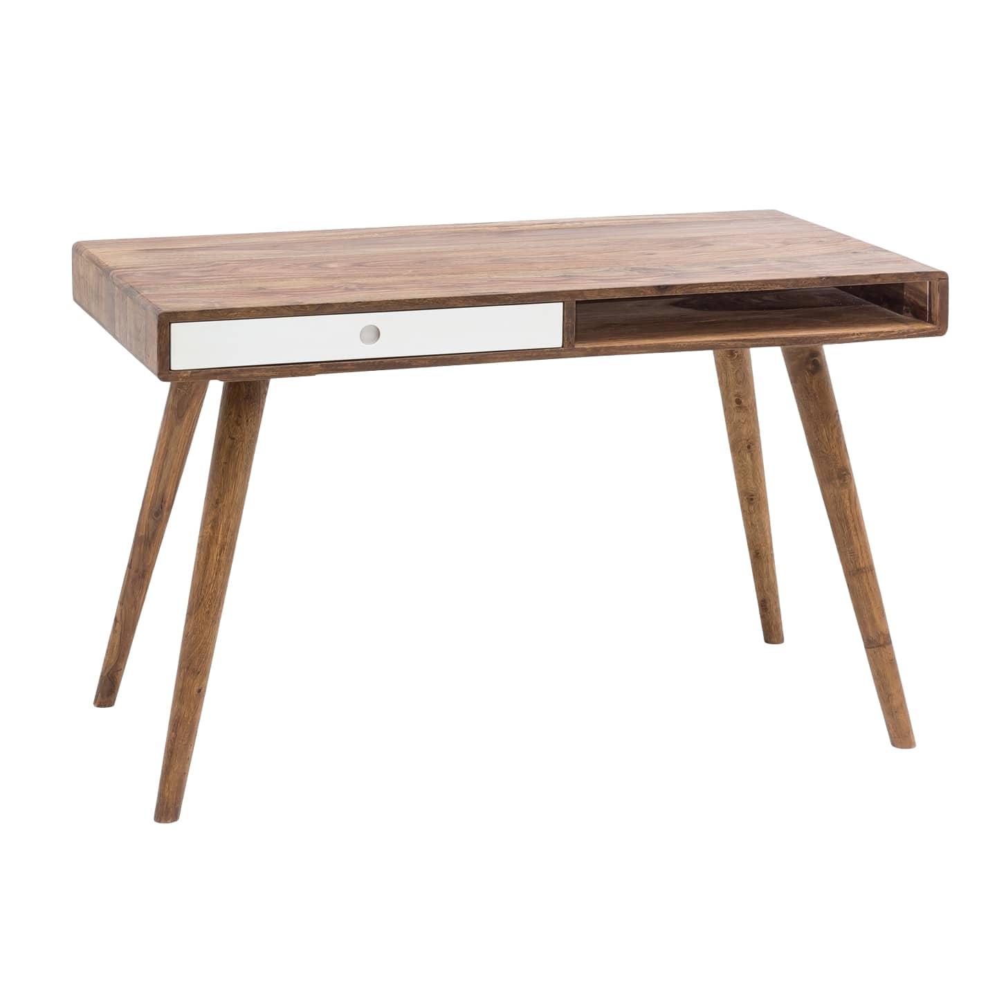 Psací stůl se zásuvkou Repa, 120 cm, masiv Sheesham, bílá