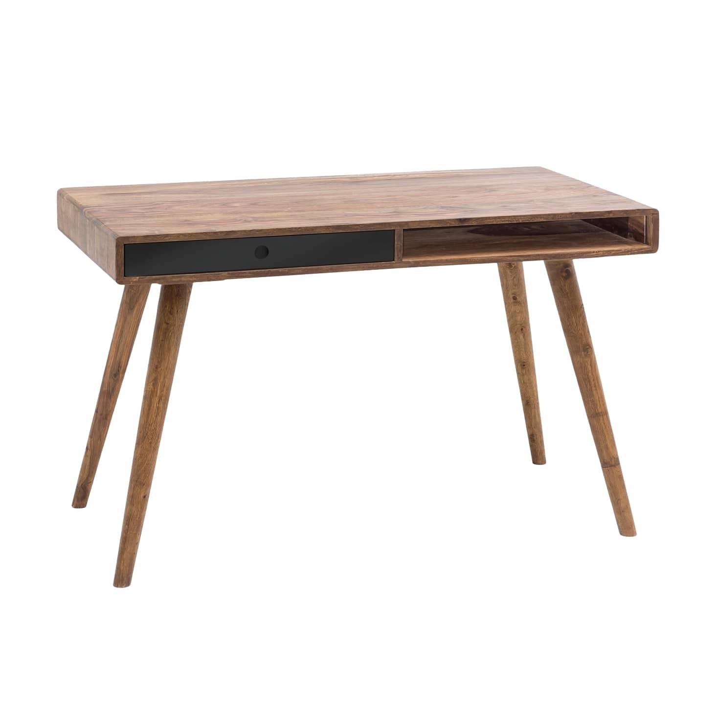 Psací stůl se zásuvkou Repa, 120 cm, masiv Sheesham, černá