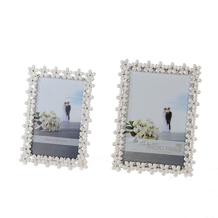 Rámeček na fotky Flow, 13x18 cm, bílá / stříbrná