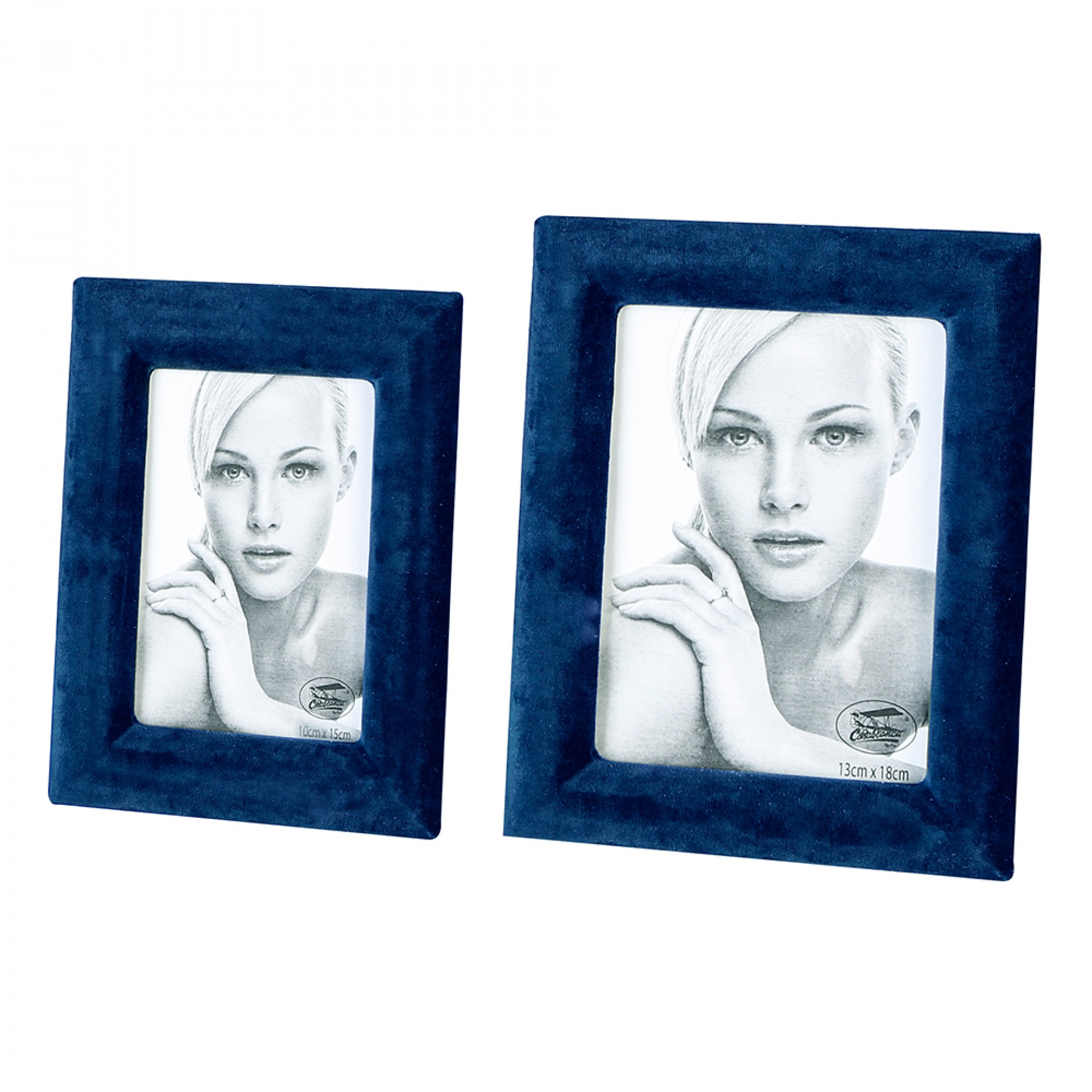 Rámeček na fotky Royal, 23x18 cm, modrý samet