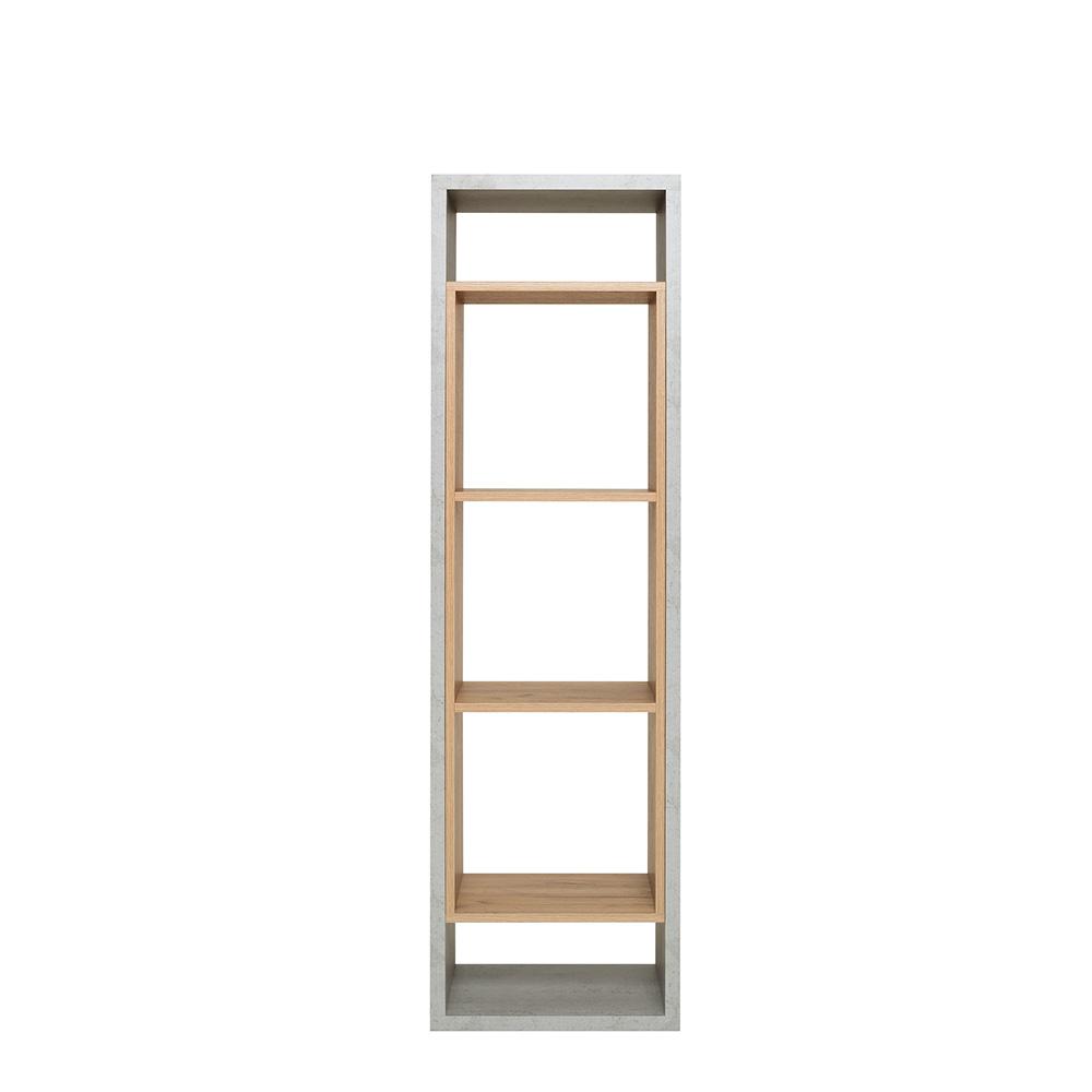 Regál Domo, 142 cm, beton/dub