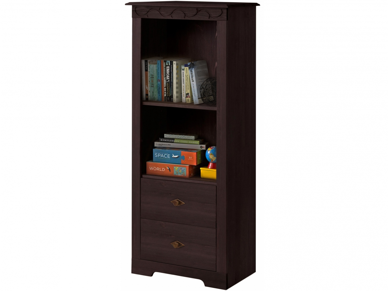 Regál/knihovna Londa, 140 cm, tmavě hnědá