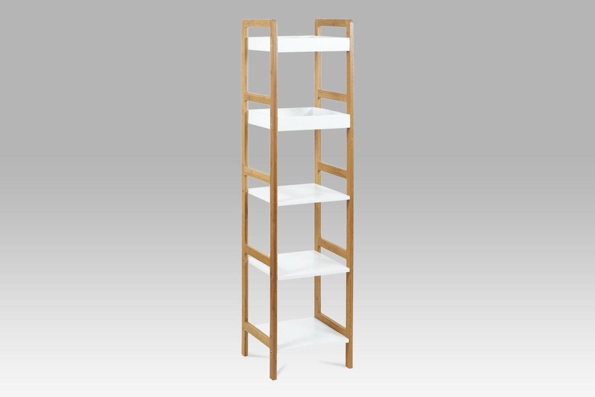 Regál s 5 policemi Artur, 128 cm, bambus/bílá