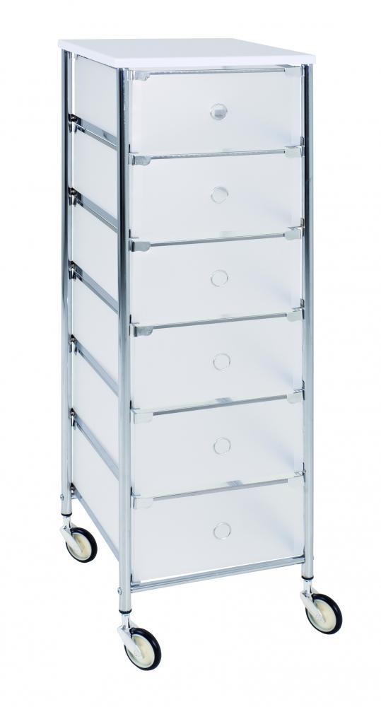Regál s 6 zásuvkami Julda, 102 cm, bílá / stříbrná