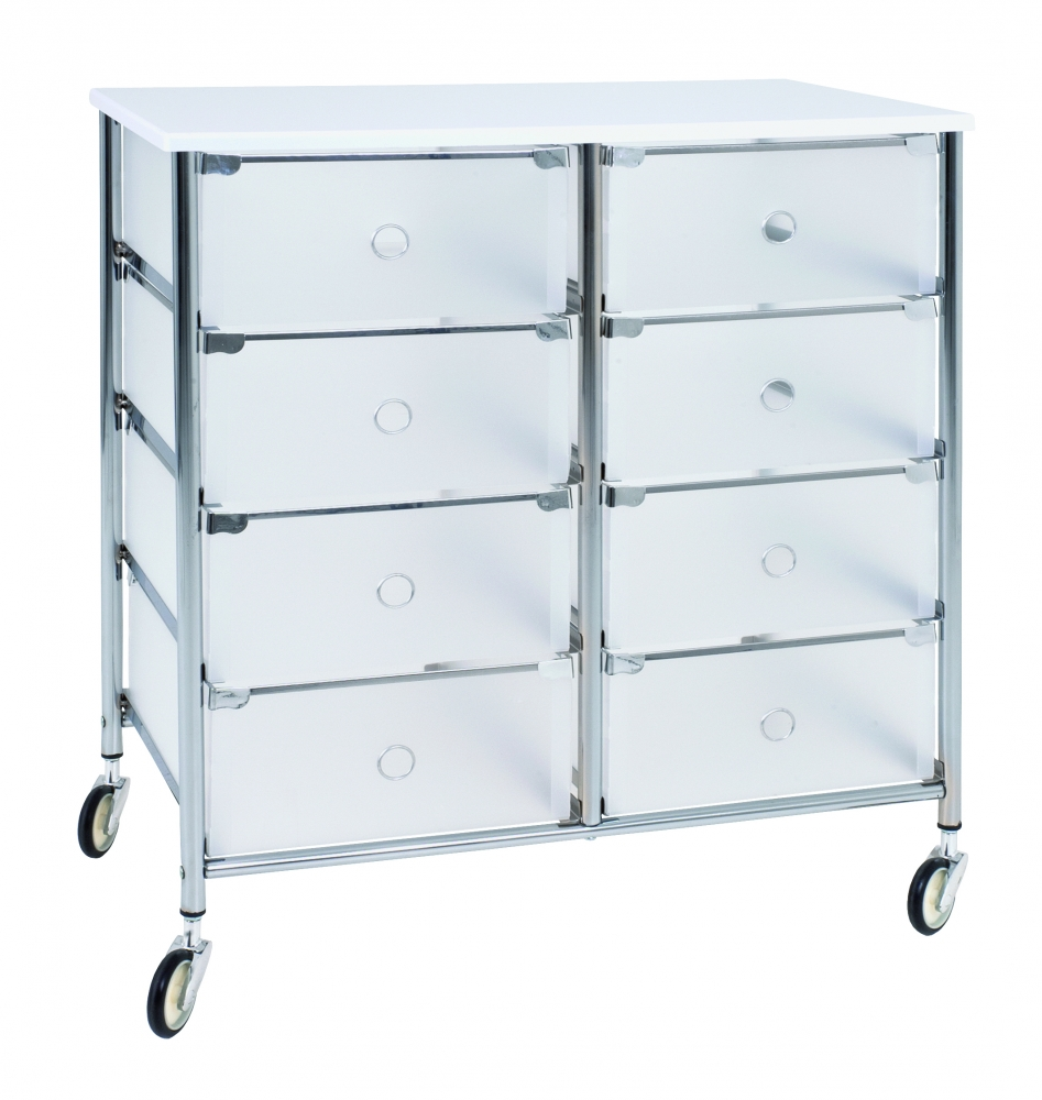 Regál s 8 zásuvkami Julda, 73 cm, bílá / stříbrná