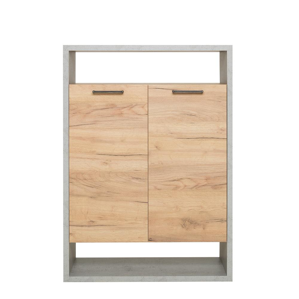 Regál s dveřmi Domo, 108 cm, beton/dub