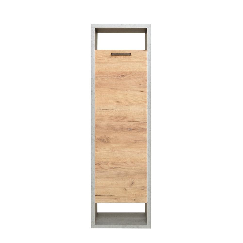 Regál s dveřmi Domo, 142 cm, beton/dub