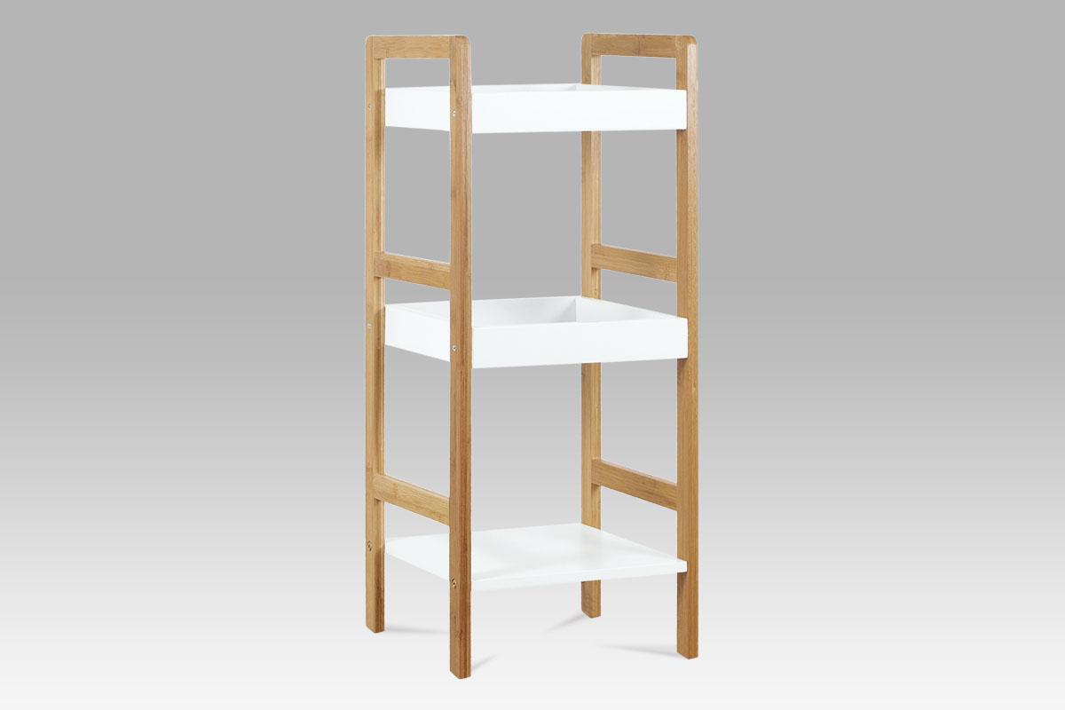 Regál se 3 policemi Artur, 72 cm, bambus/bílá