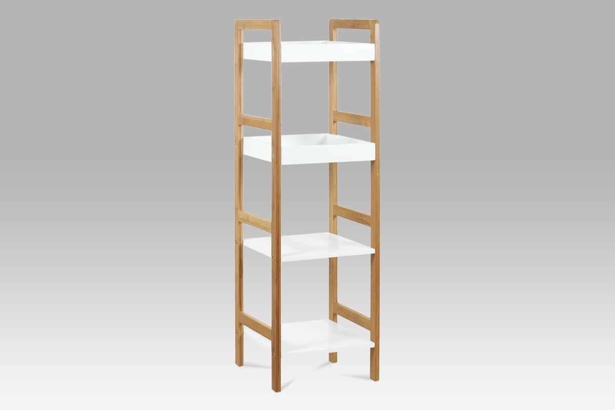 Regál se 4 policemi Artur, 100 cm, bambus/bílá