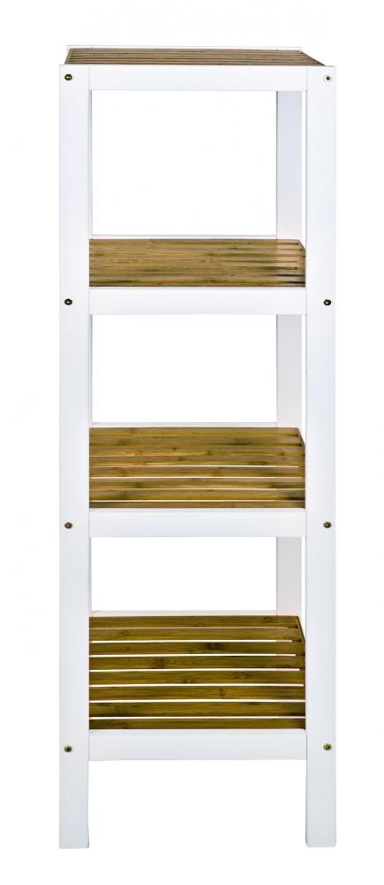 Regál se 4 policemi Sune, 112 cm, bambus / bílá
