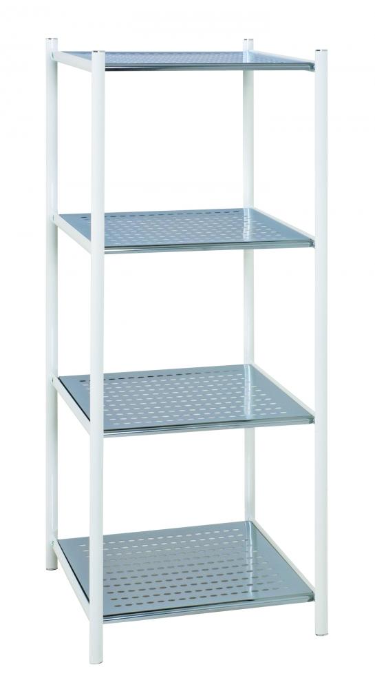 Regál se 4 policemi Sven, 103 cm, bílá / stříbrná