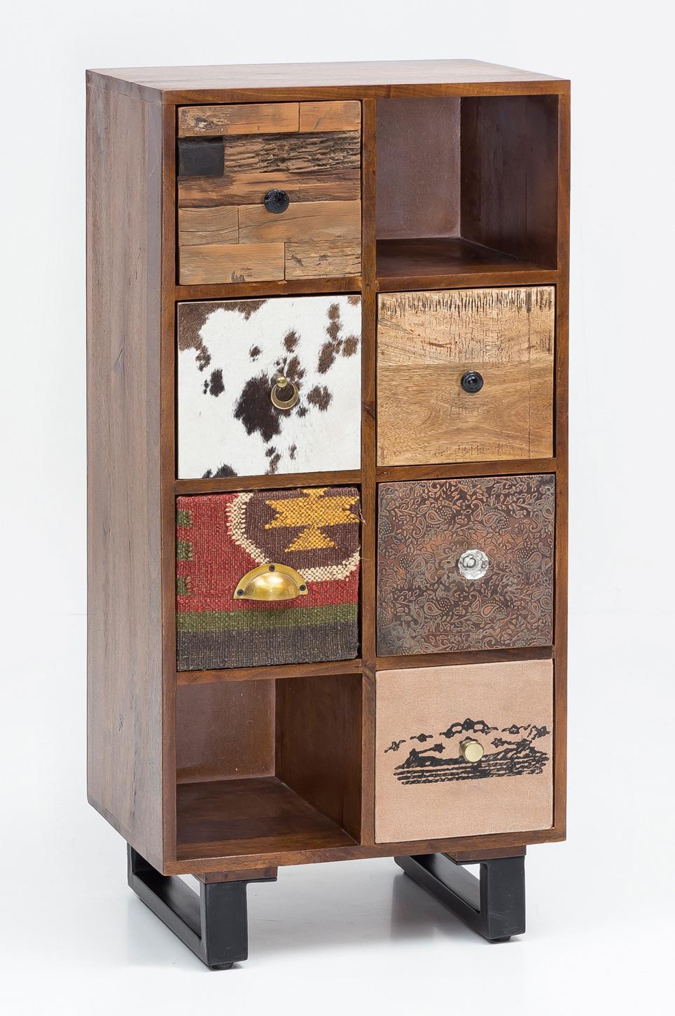 Regál se zásuvkami Patna, 116 cm, mangové dřevo