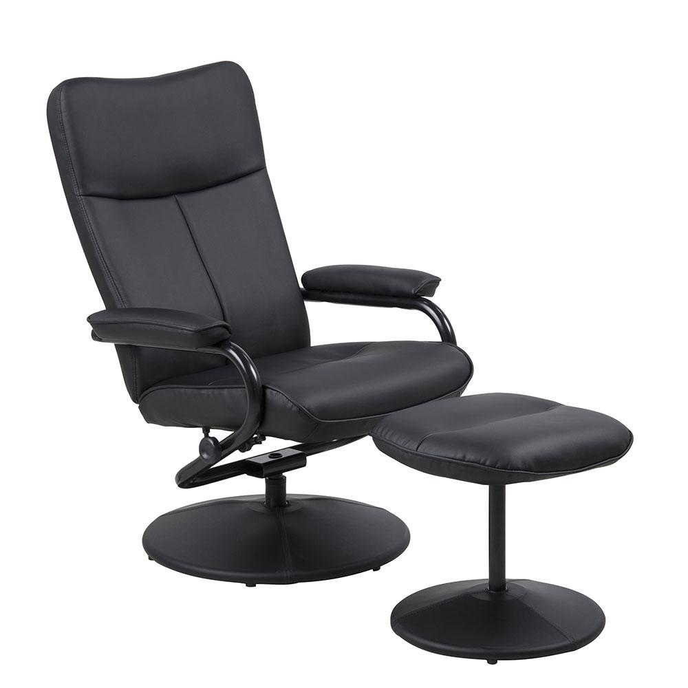 Relaxačné kreslo s podnožkou Fortel, čierna, čierna