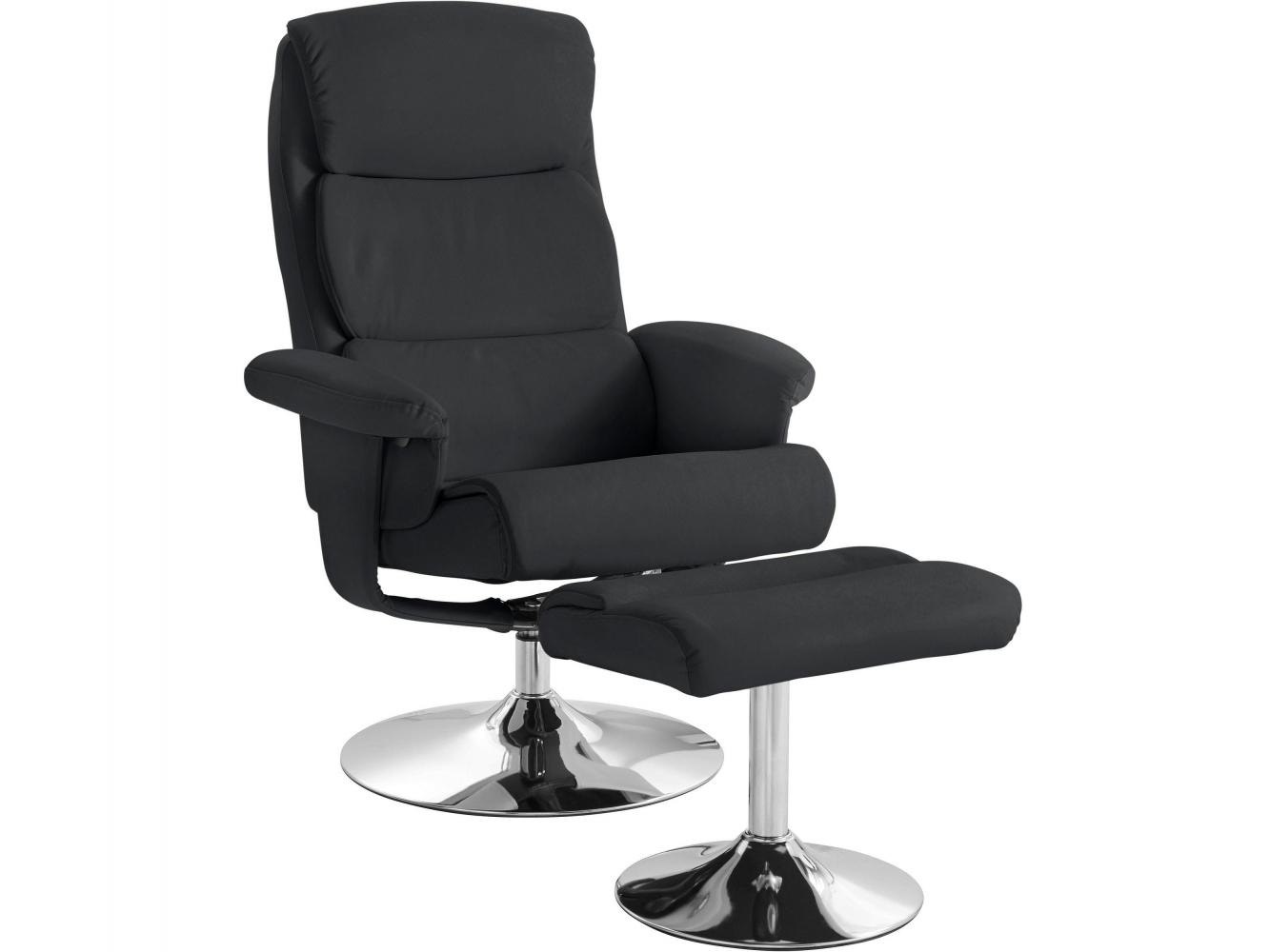Relaxační křeslo s podnožkou Bosse, černá