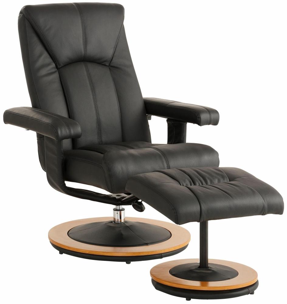 Relaxační křeslo s podnožkou Colma, černá