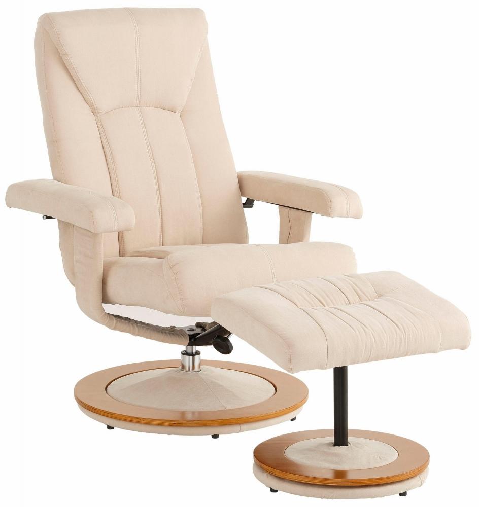 Relaxační křeslo s podnožkou Colma, mikrovlákno, krémová