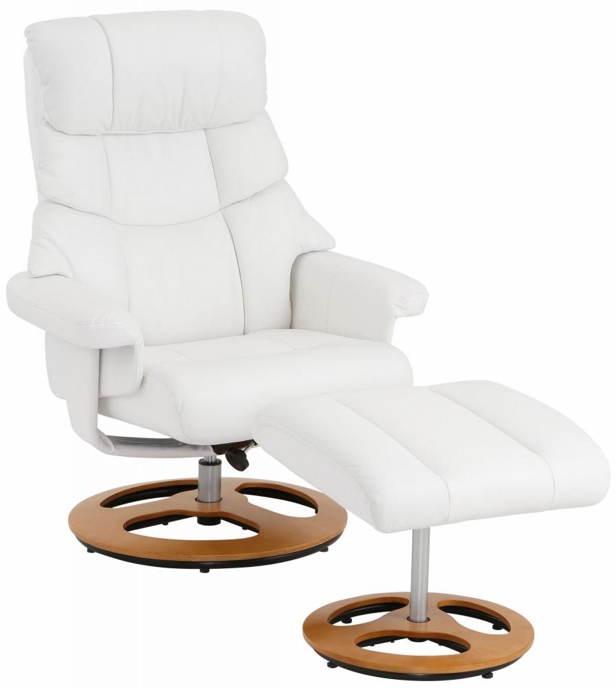 Relaxační křeslo s podnožkou Toul, syntetická kůže, bílá