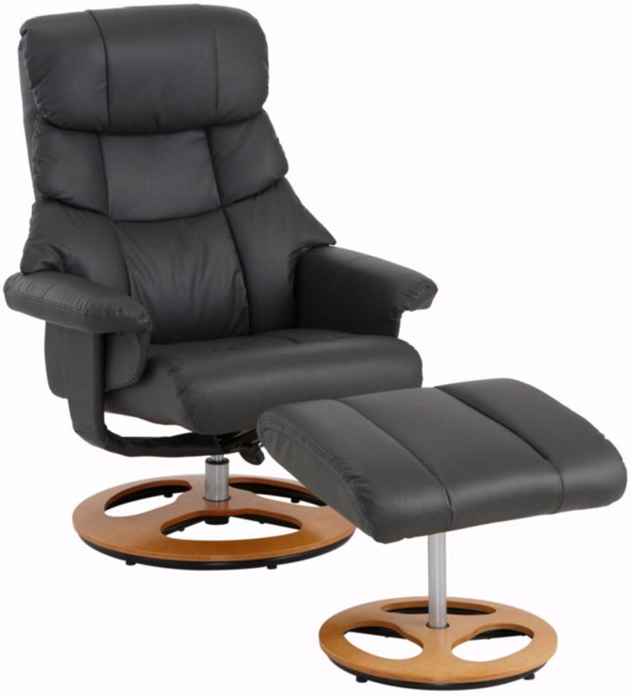 Relaxační křeslo s podnožkou Toul, syntetická kůže, černá