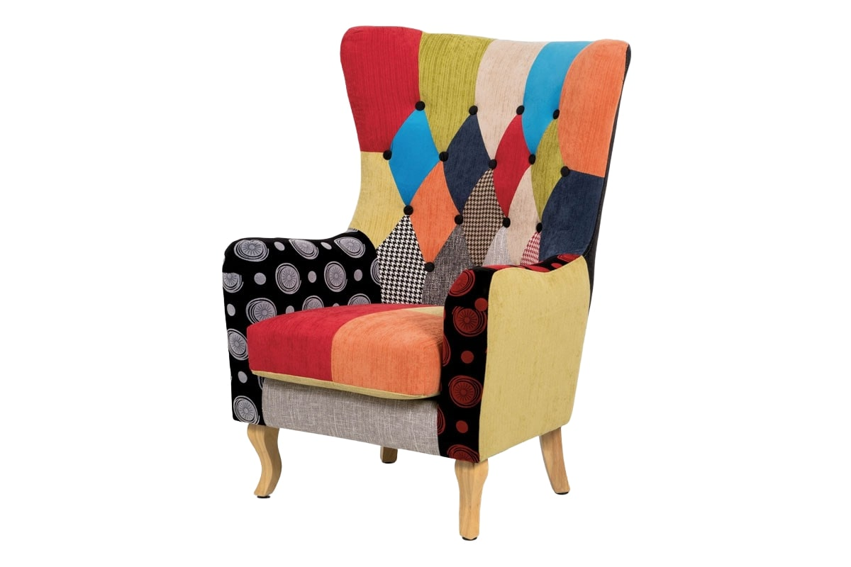Relaxační křeslo ušák Robin patchwork, barevná