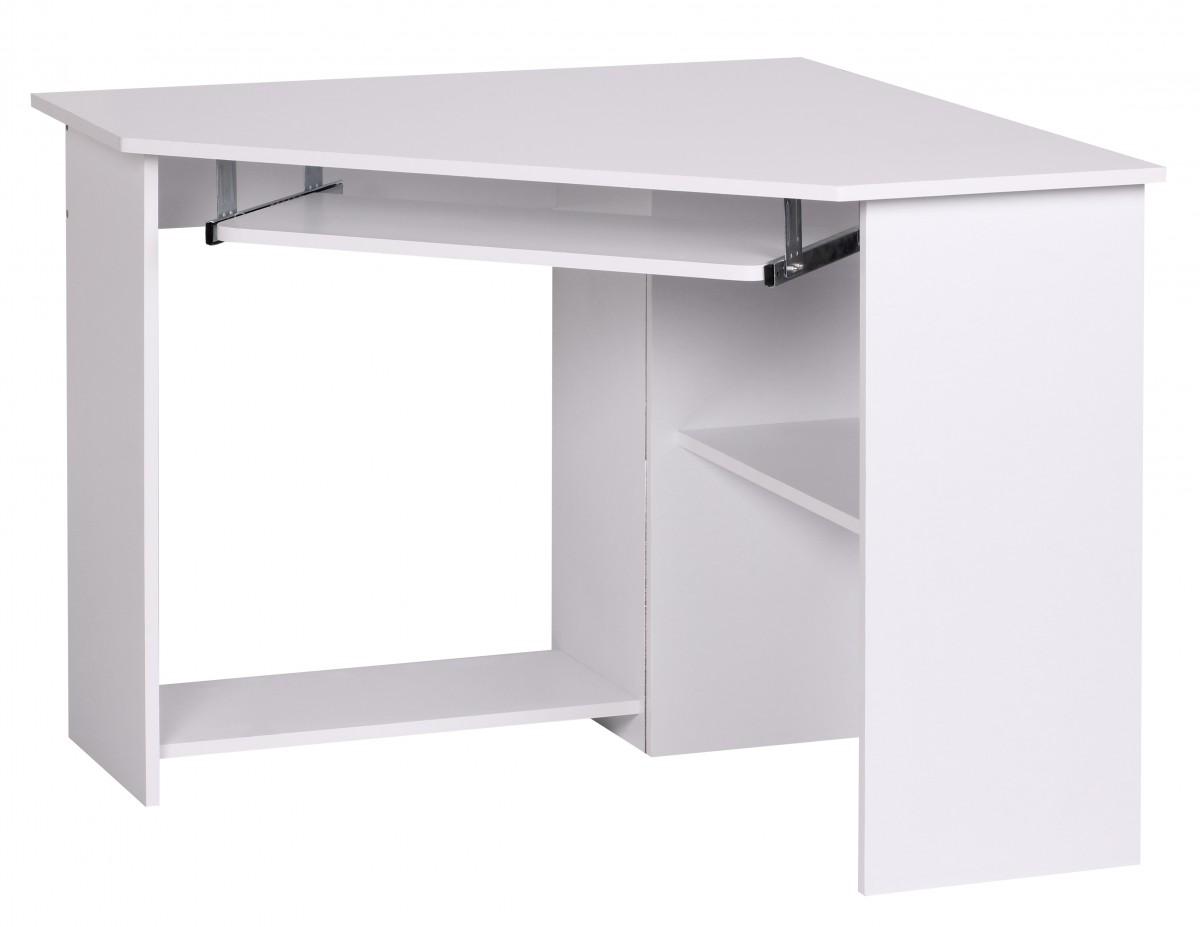 Rohový počítačový stůl s výsuvnou klávesnicí Roman, 103 cm, bílá