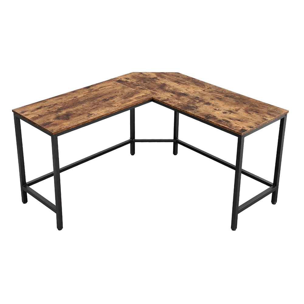 Rohový pracovní stůl Lera, 135 cm, hnědá / černá
